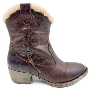 Born Leather Warm Shearling Lined Heel Ankle Boots